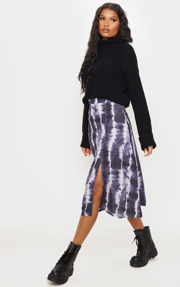 Black Tie Dye Floaty Midi Skirt 1