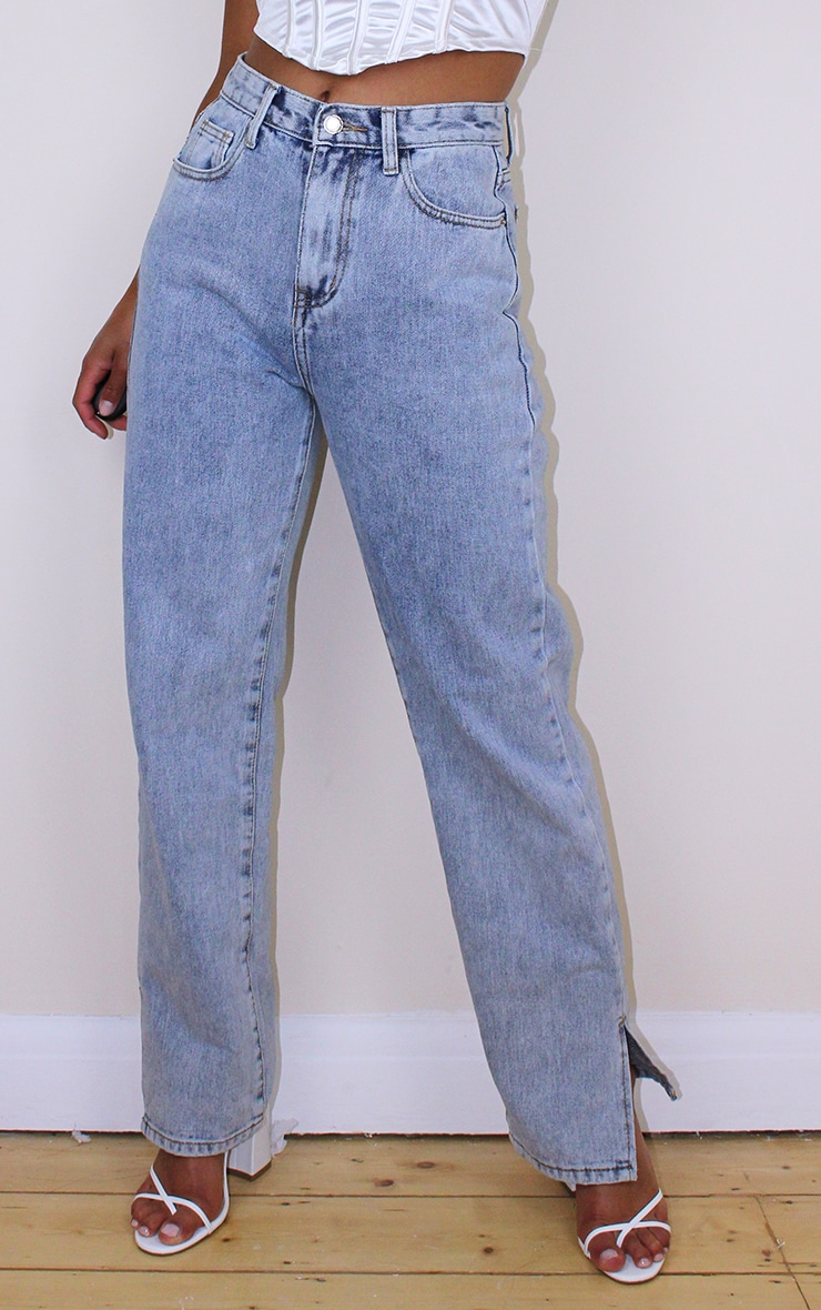 Petite Bleach Wash Split Hem Jeans 2