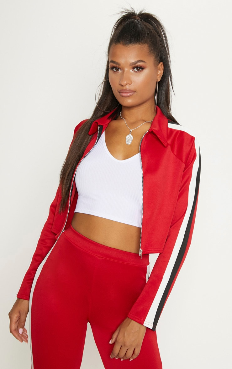 Red Stripe Detail Tracksuit Jacket