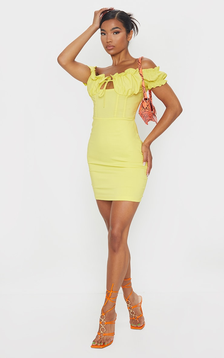Baby Pink Bardot Frill Detail Bodycon Dress image 3