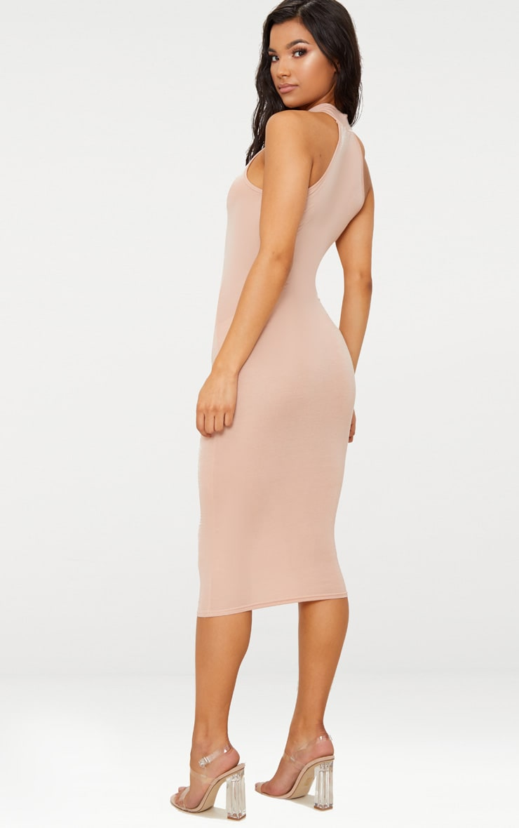 Nude High Neck Midi Dress 2