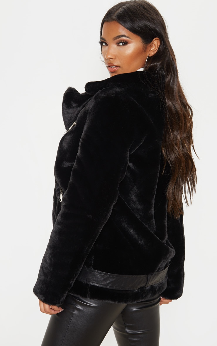 Black Faux Fur Aviator Jacket 2