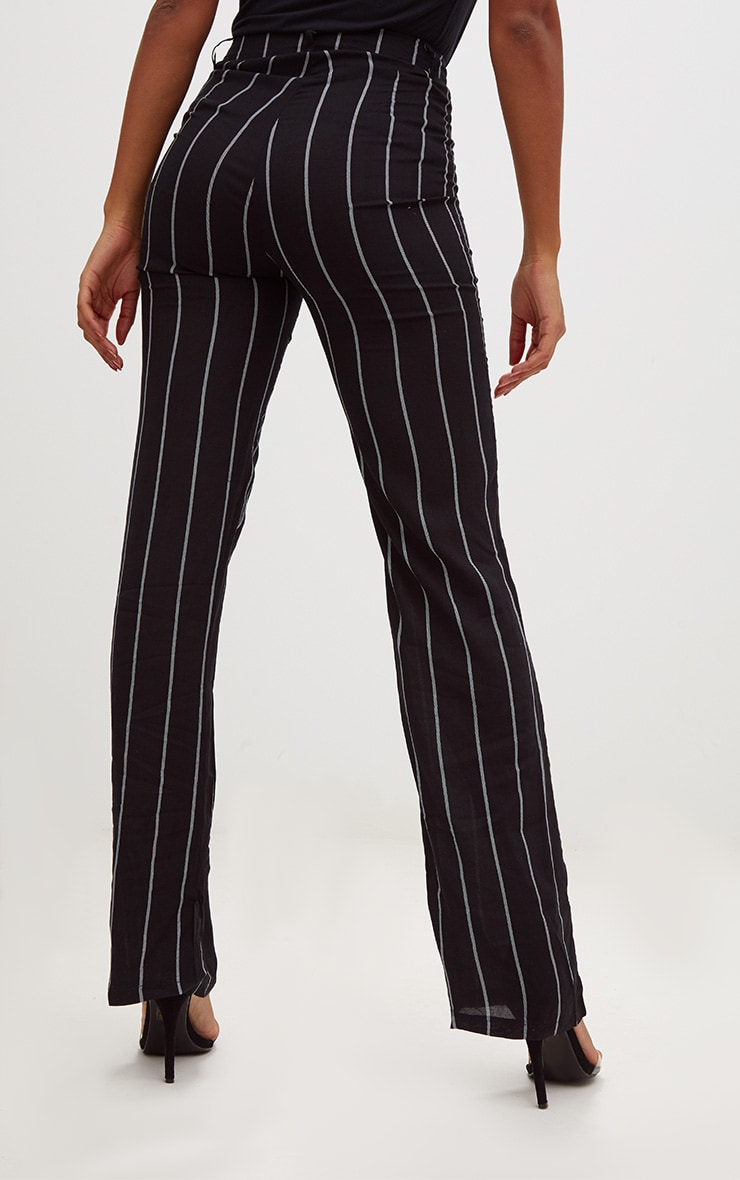 Black Pinstripe High Waisted Straight Leg Trousers 4