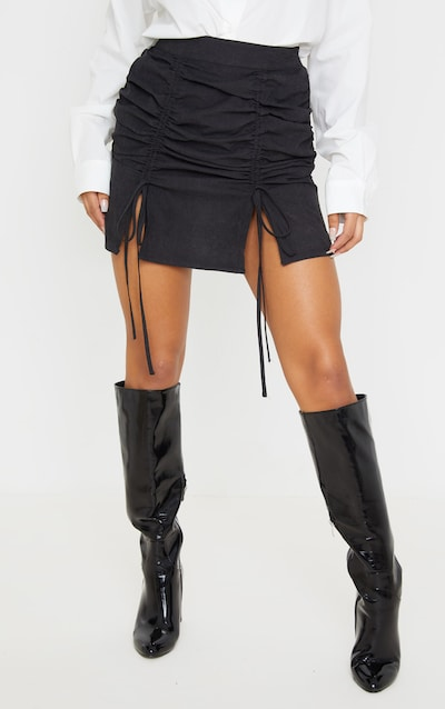 Black Faux Suede Double Ruched Detail Mini Skirt