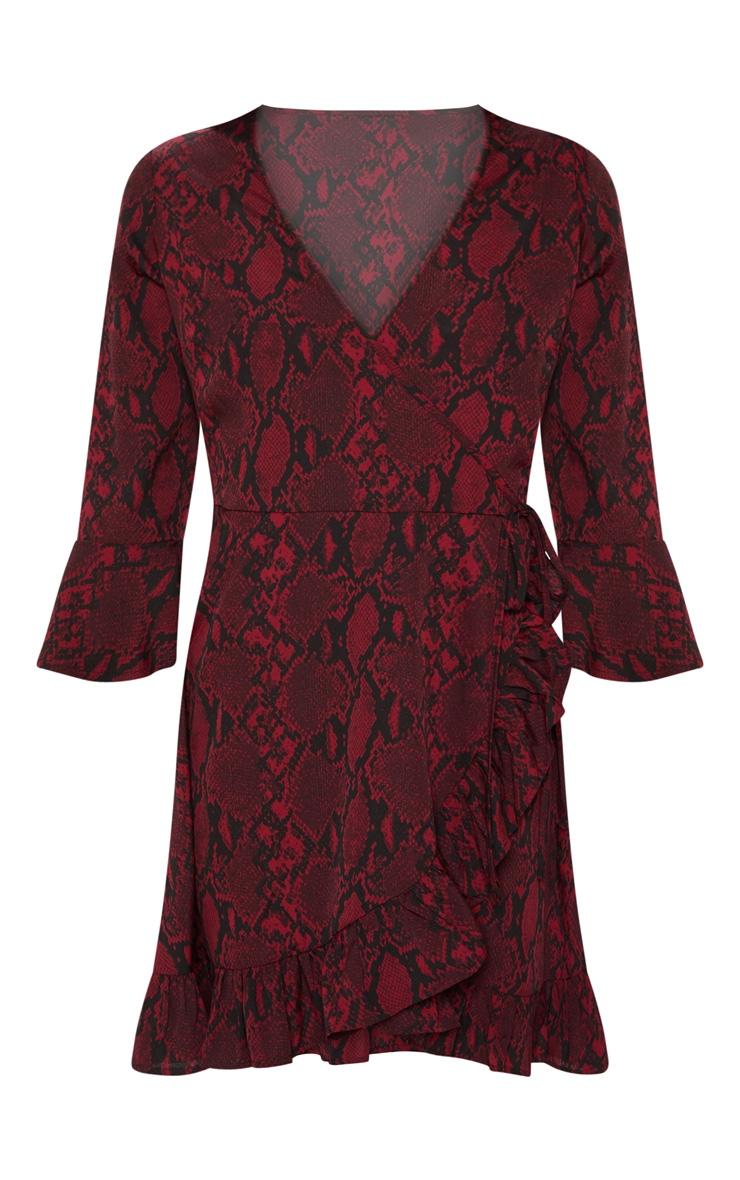 Red Snake Print Frill Sleeve Tea Dress 3