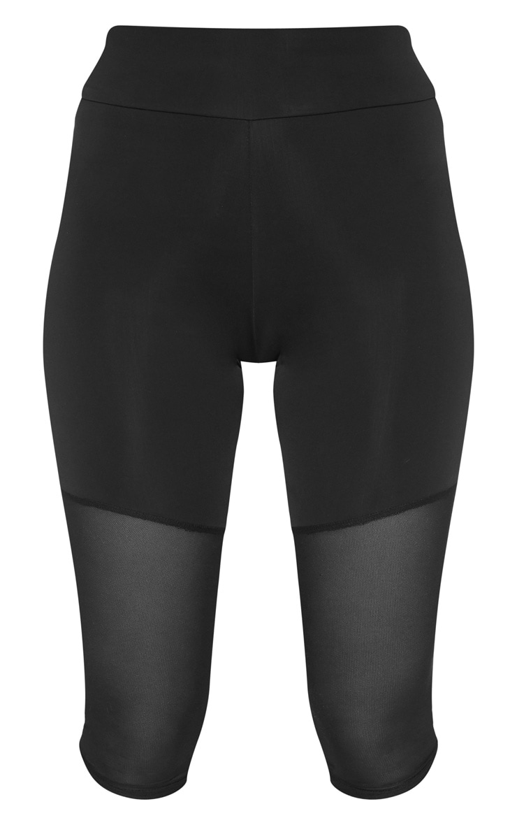 Black Basic Mesh Insert Gym Legging 3