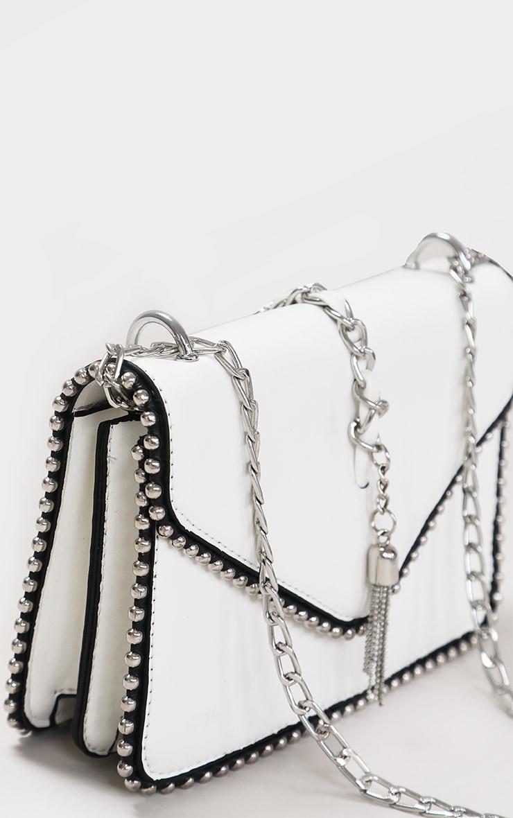 White PU Chain And Tassel Trim Cross Body Bag 2