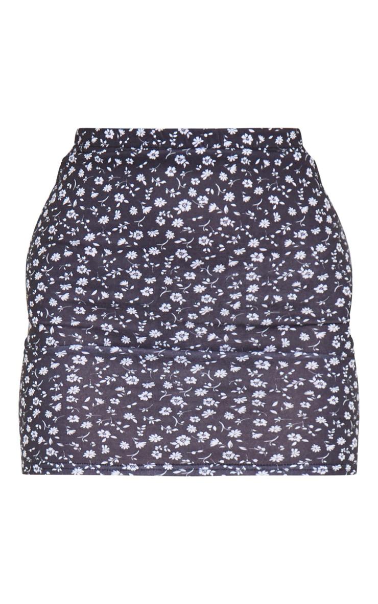 Black Ditsy Floral Print Mini Skirt 6