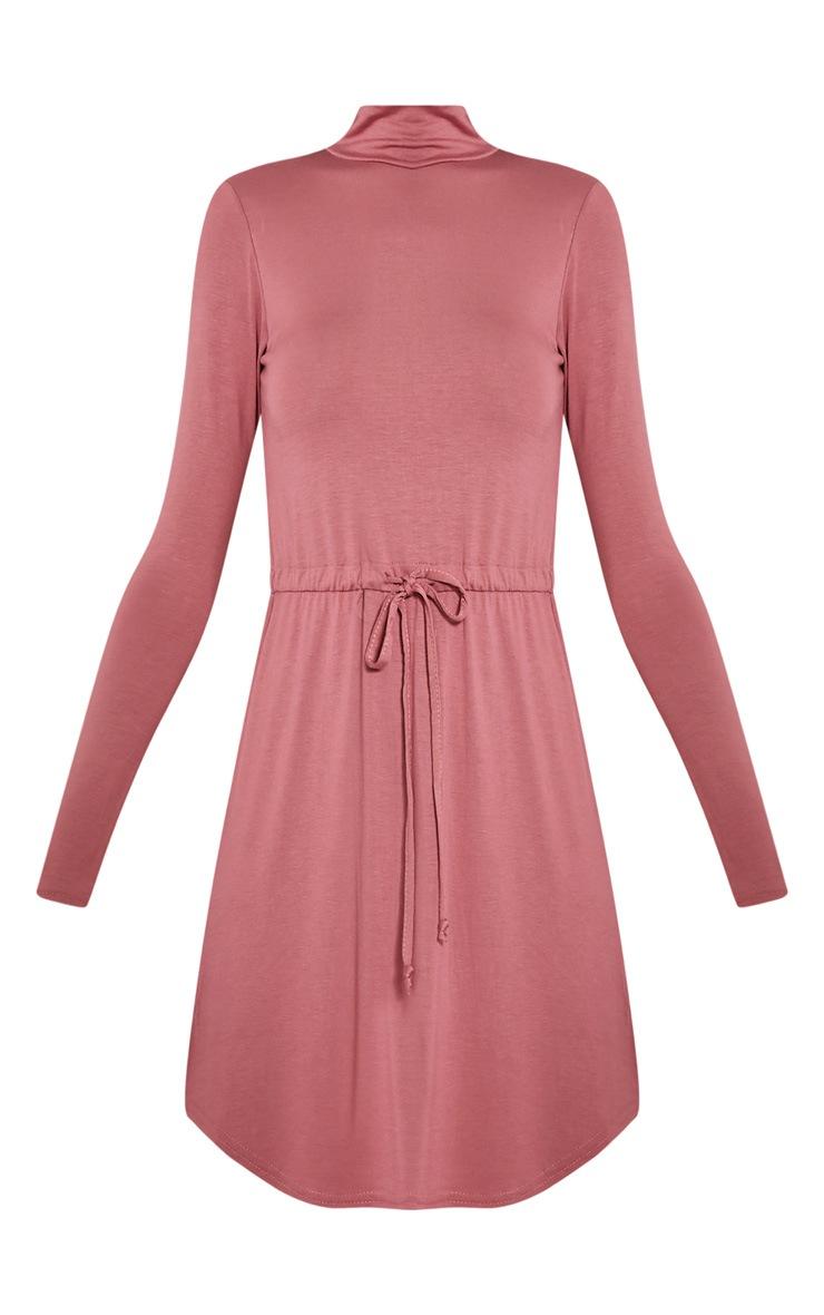Halle Rose Tie Waist Long Sleeve Jersey Bodycon Dress 3