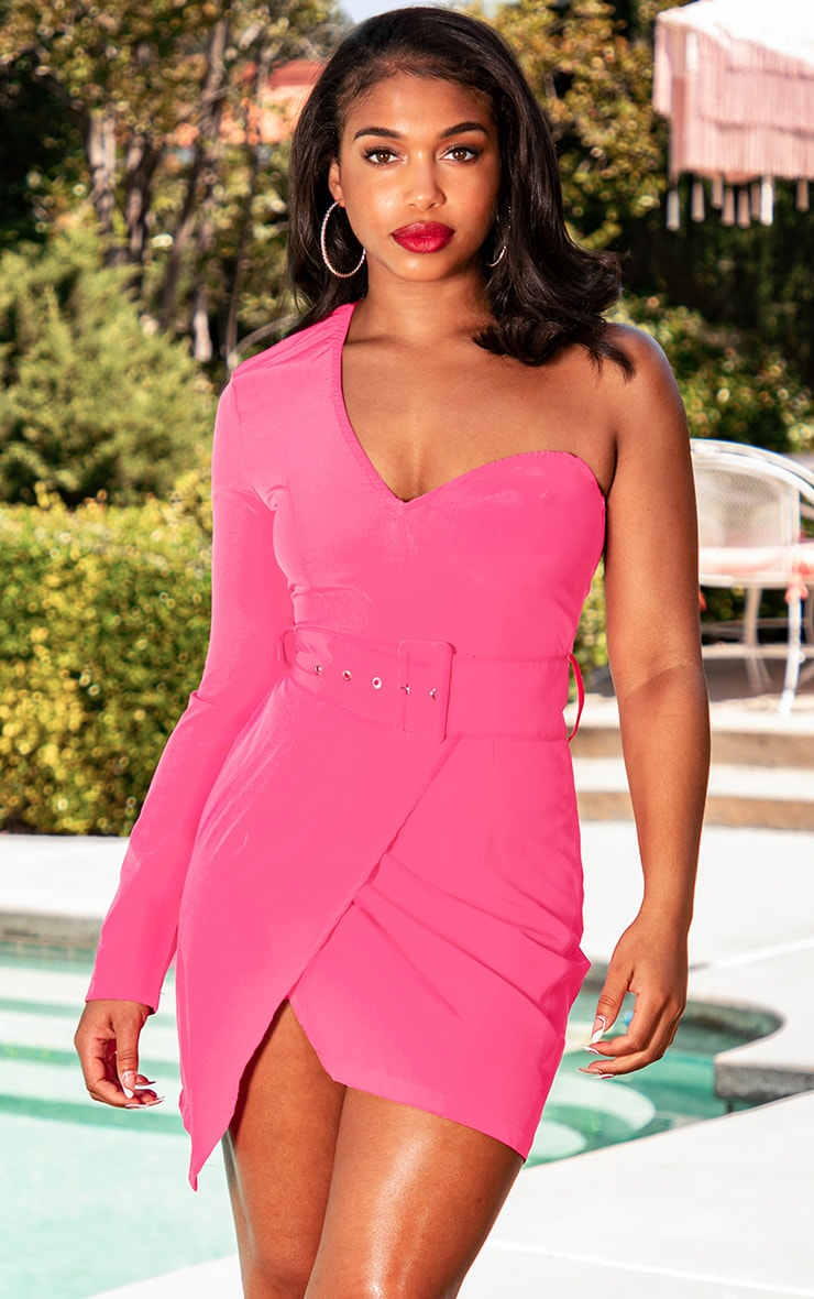 Hot Pink One Shoulder Belted Bodycon Dress 1