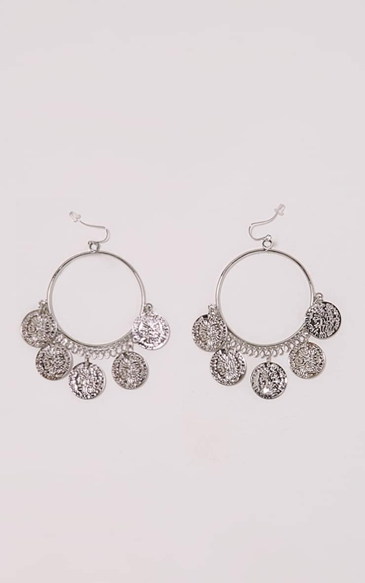 Skai Silver Coin Hoop Earrings 1