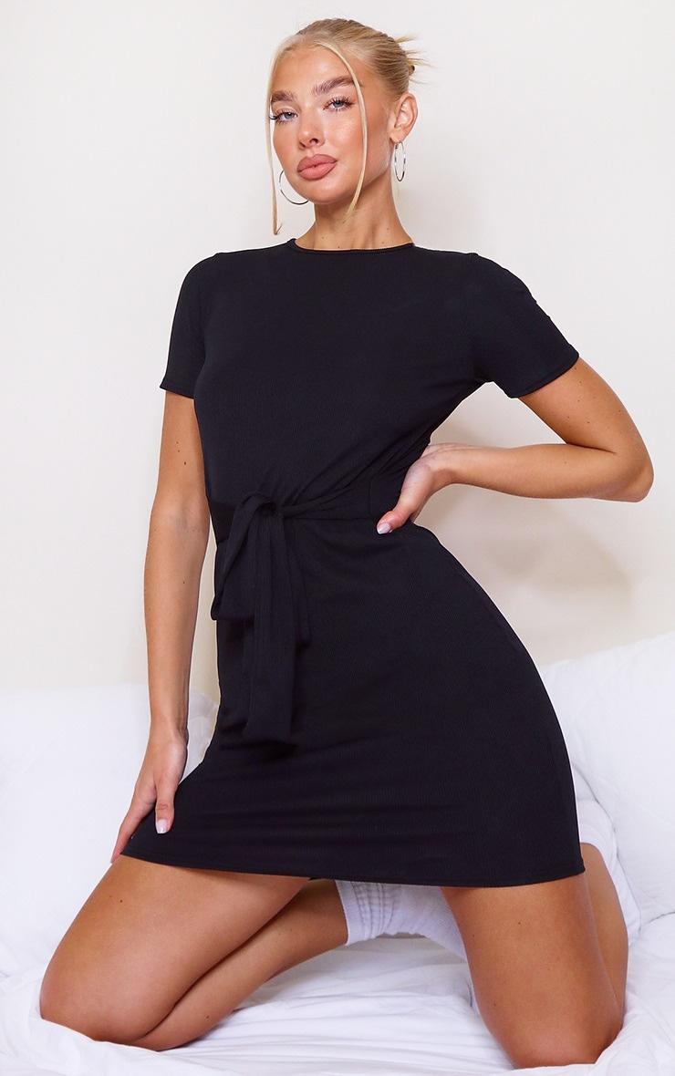 Black Rib T Shirt Tie Waist Dress 1
