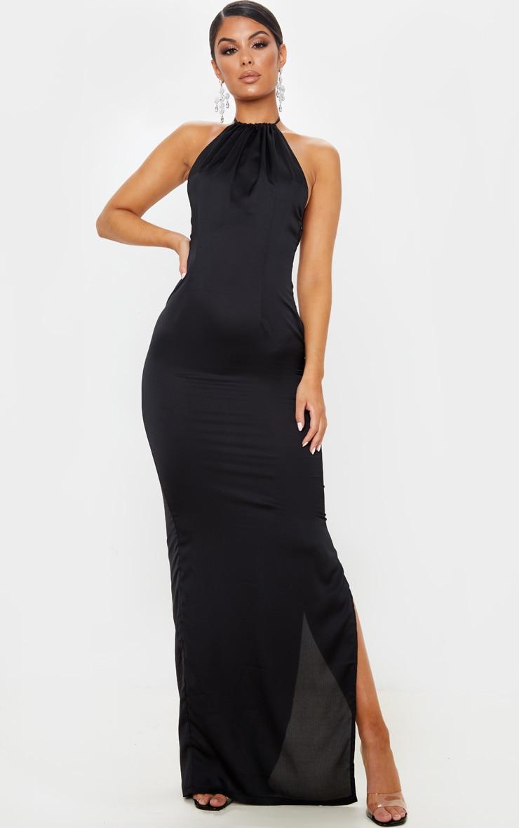Black Cowl Back Halterneck Maxi Dress 2