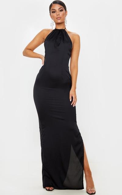 Black Cowl Back Halterneck Maxi Dress