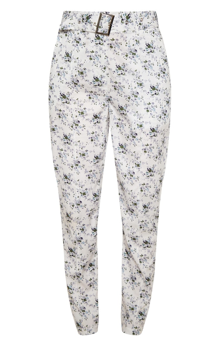 White Floral Belted Tailored Pants 3