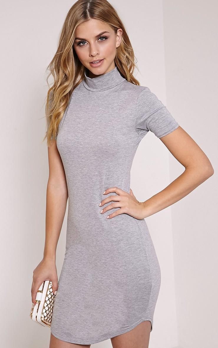 Alby Grey Marl Cap Sleeve Curve Hem High Neck Dress 4