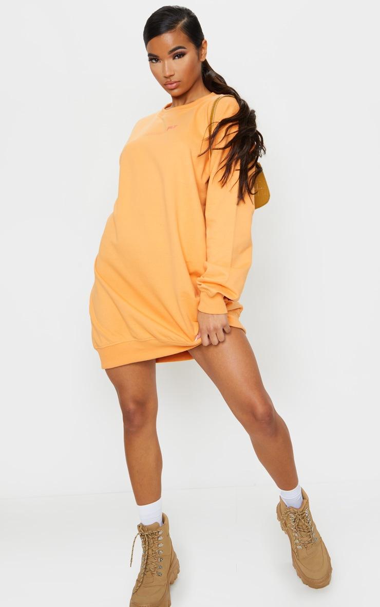 PRETTYLITTLETHING Orange Official Slogan Back Print Long Sleeve Sweater Dress 3