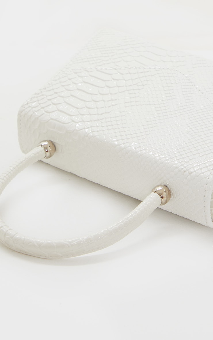 White Croc PU Envelope Grab Bag 4