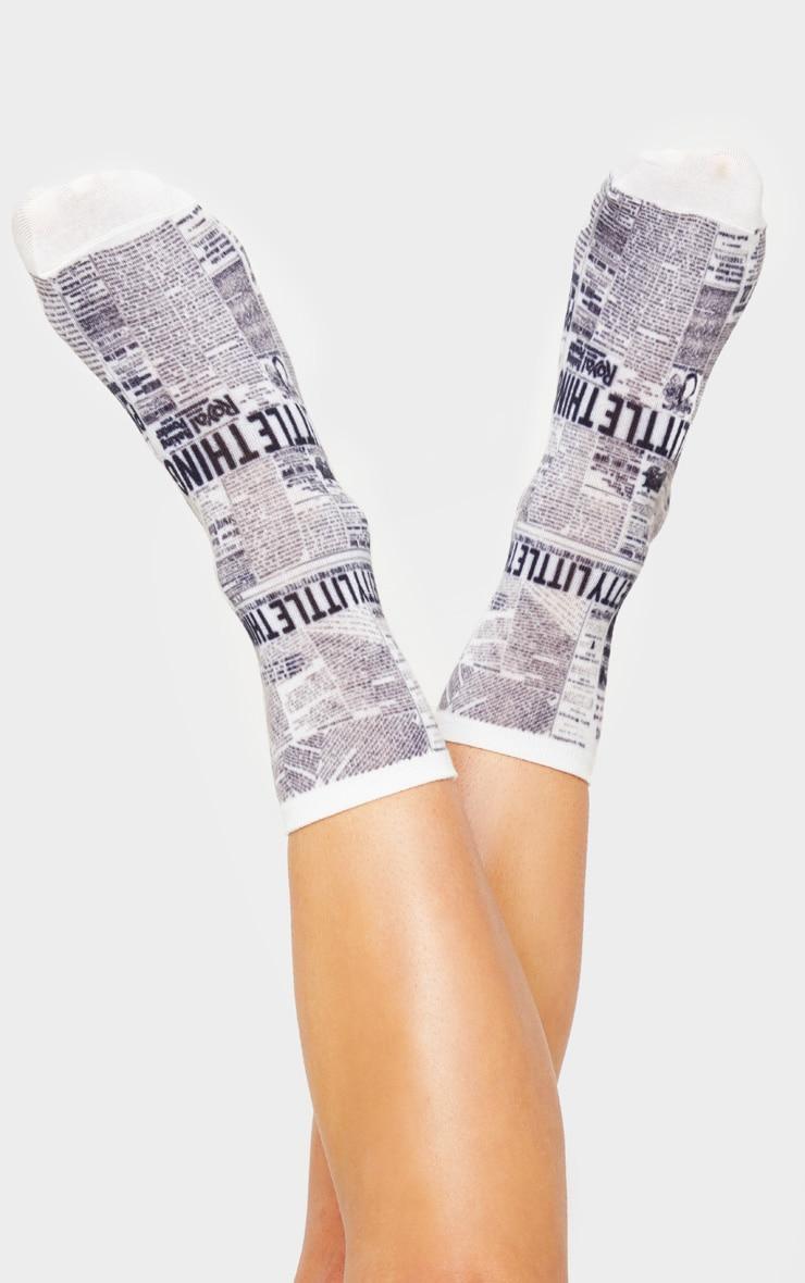 PRETTYLITTLETHING Newspaper Print Sock 2