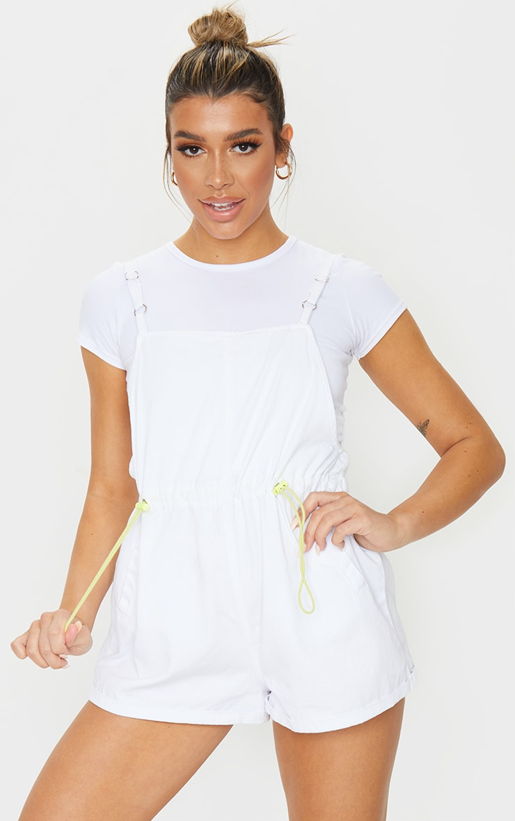 White And Neon Toggle Waist Square Neck Playsuit 1