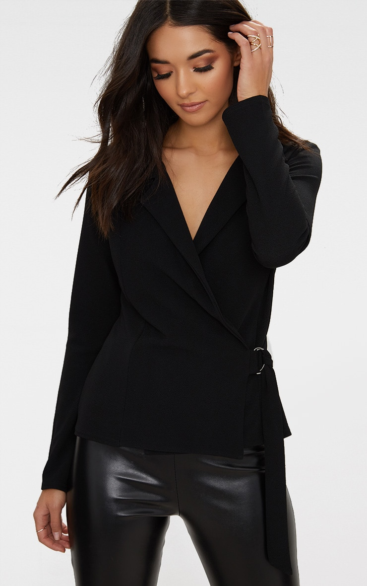 Black Wrap Side D-Ring Blazer 1