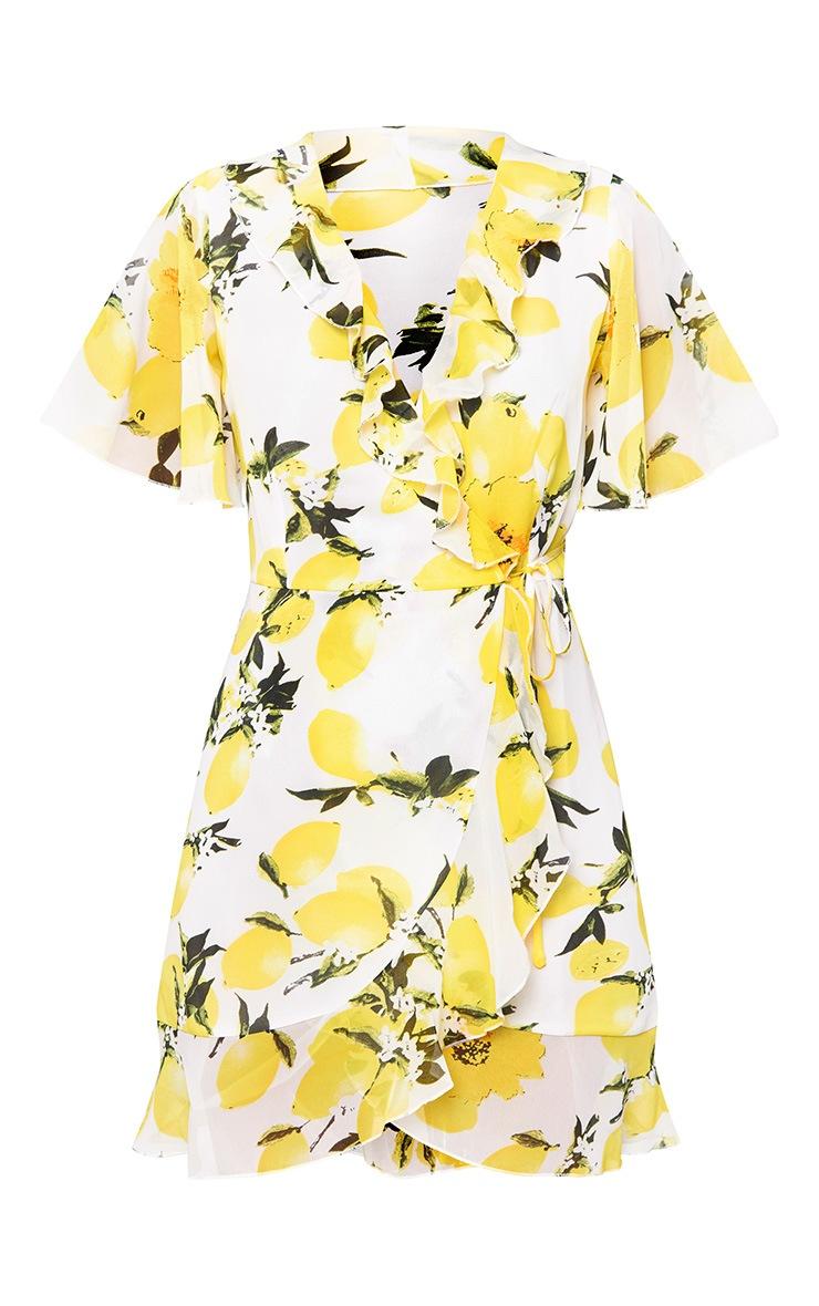 Lemon Print Wrap Dress 3
