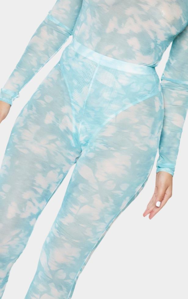 Teal Tie Dye Print Mesh Leggings 4