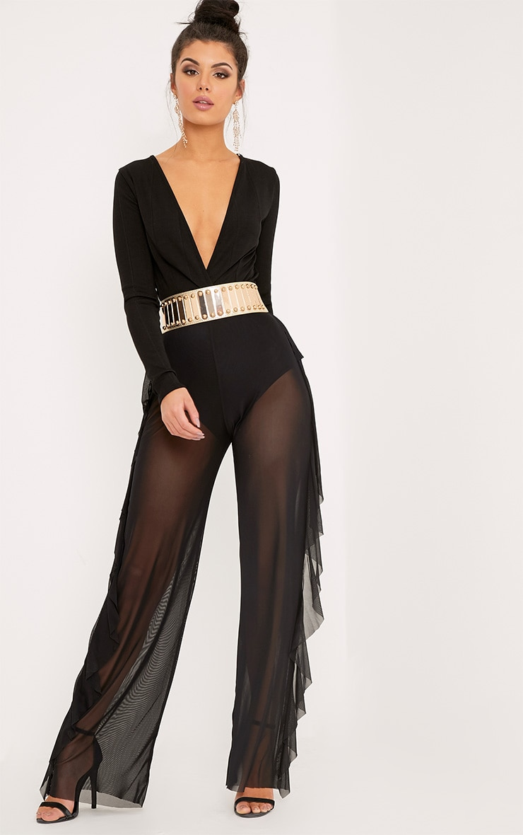 Nancia Black Sheer Side Frill Trousers 1