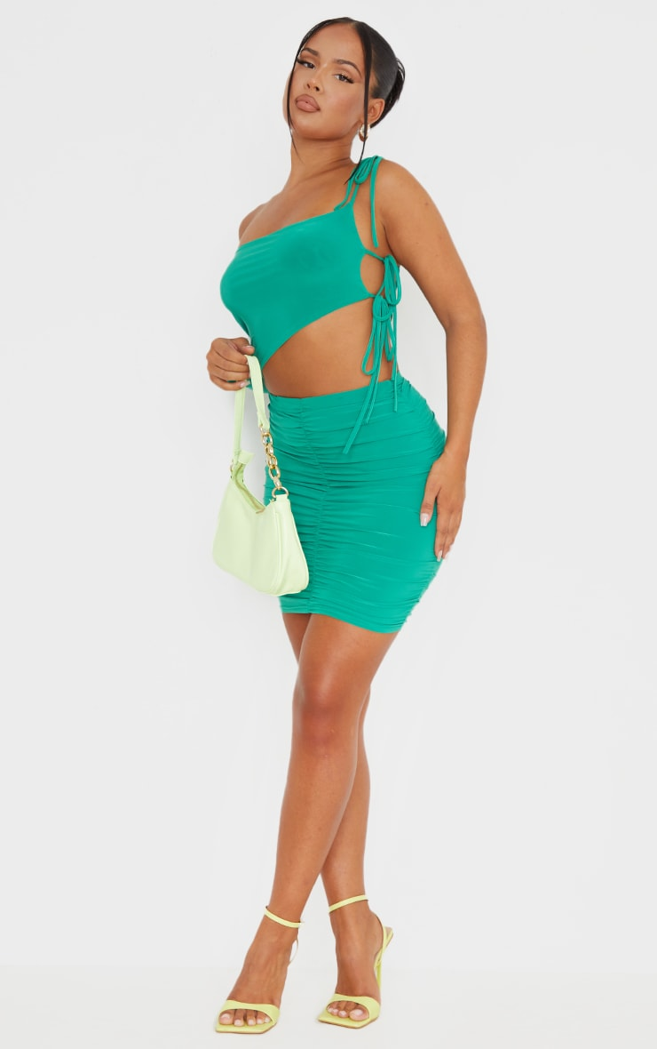 Bright Green Slinky Ruched Side Mini Skirt 1