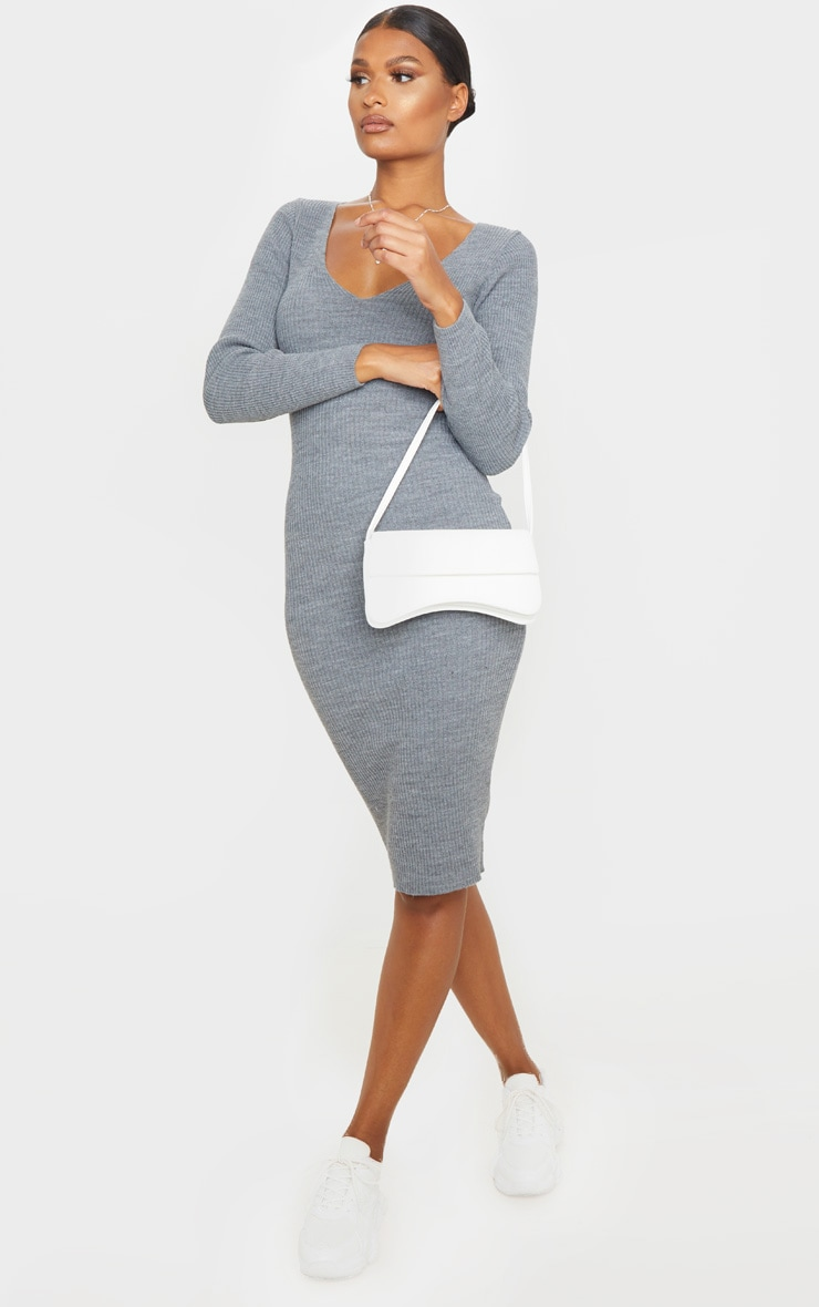 Grey V Neck Knitted Midi Dress 4