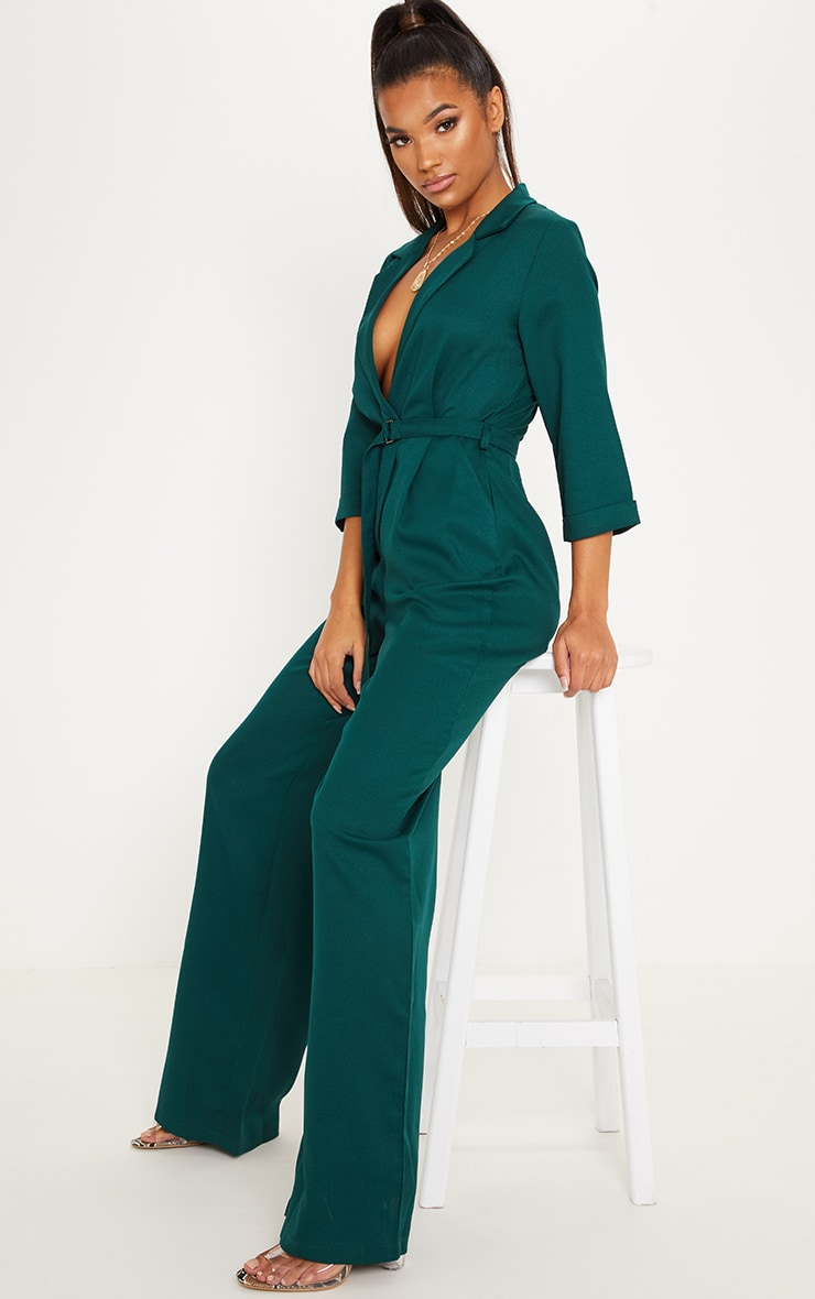 Emerald Green Woven Plunge Wide Leg Jumpsuit image 4