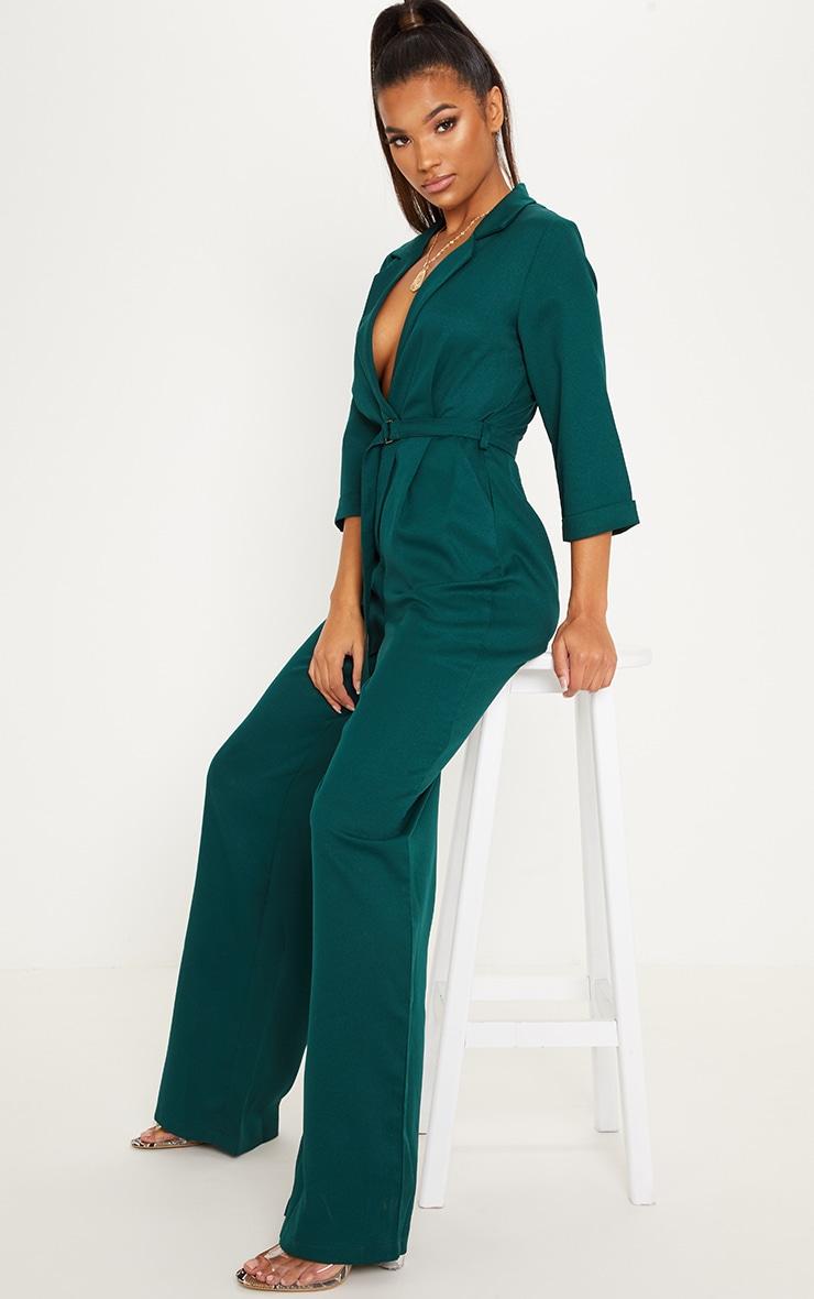 Emerald Green Woven Plunge Wide Leg Jumpsuit image 4