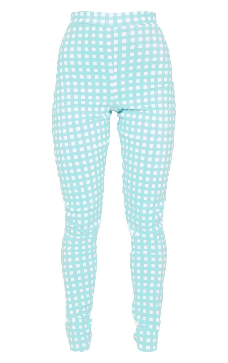 Mint Gingham High Waisted Woven Stretch Legging 3