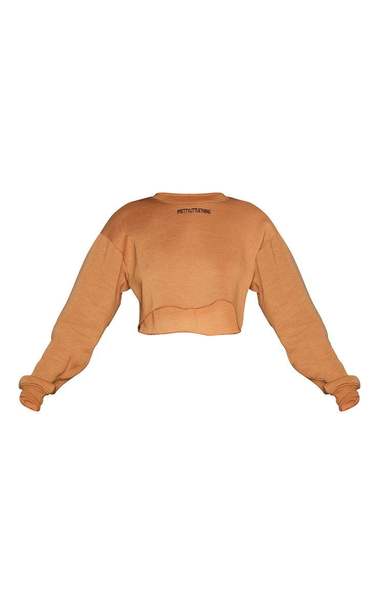 PRETTYLITTLETHING Camel Embroidered Crop Sweatshirt 5
