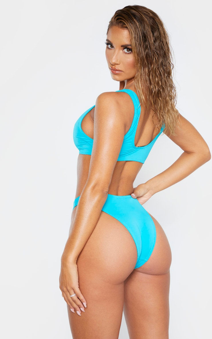 Turquoise Mix & Match Deep Scoop Bikini Top 2