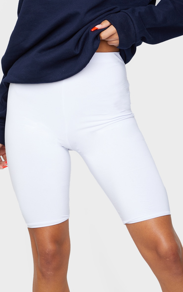 White Slinky Longline Bike Short  5