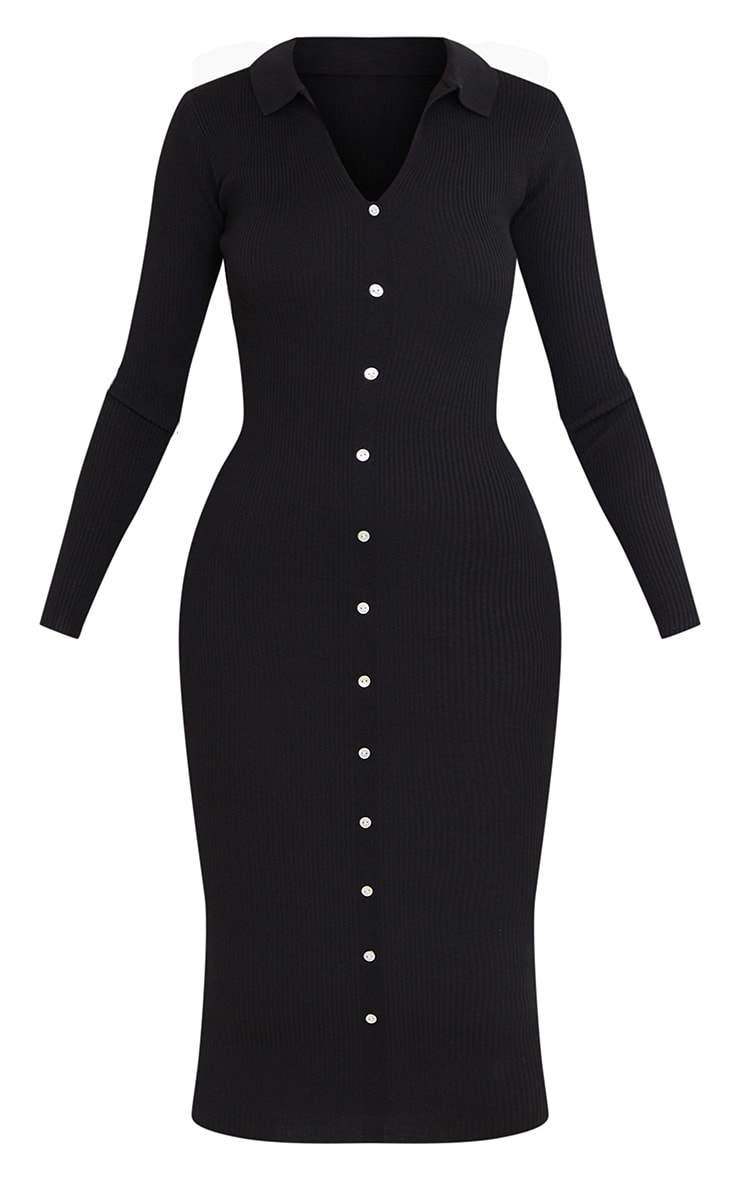 Tall Black Button Down Collared Knitted Midi Dress 5