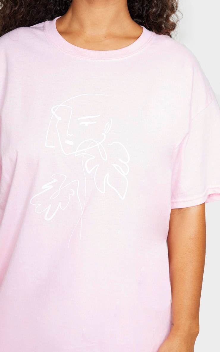 Pink Printed Abstract Face Oversized T Shirt 4