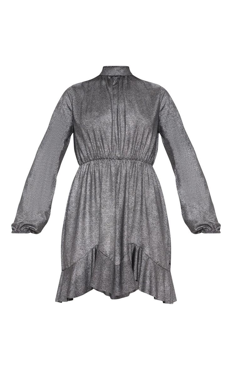 Silver Metallic High Neck Frill Hem Shift Dress 3