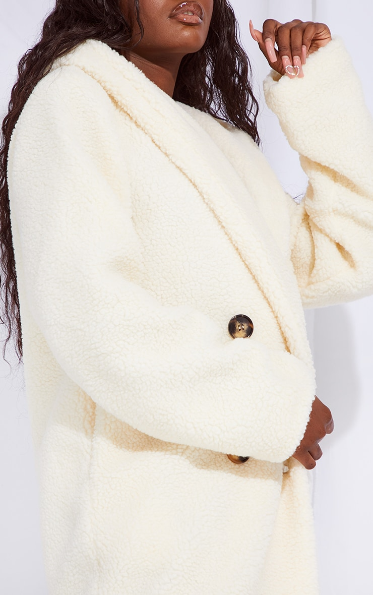 Tall Cream Borg Hooded Midi Coat 4