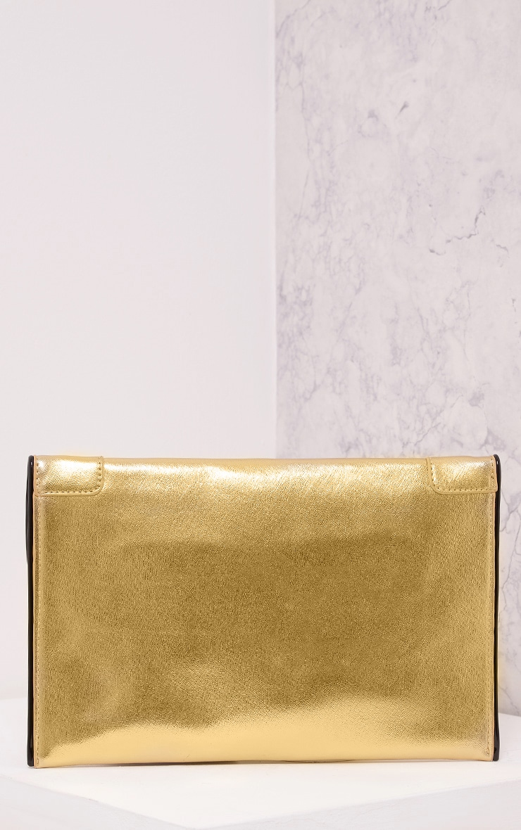 Wilona Gold Metallic Envelope Clutch 3