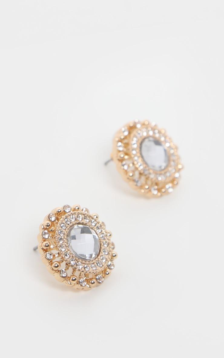 White Crystal Diamante Stud Earrings 3