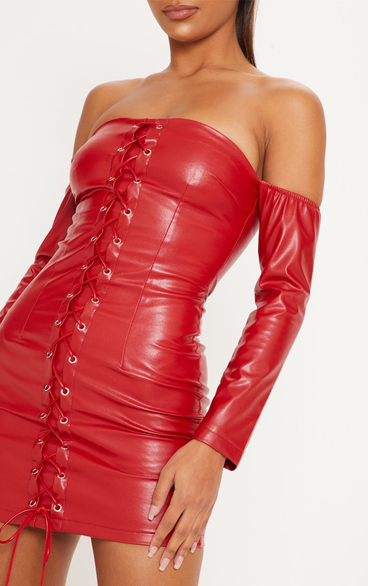 Red Faux Leather Bardot Lace Up Bodycon Dress 5