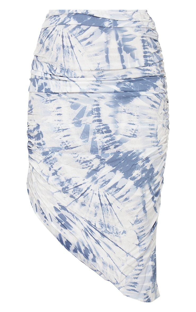 Navy Tie Dye Ruched Midi Skirt 6