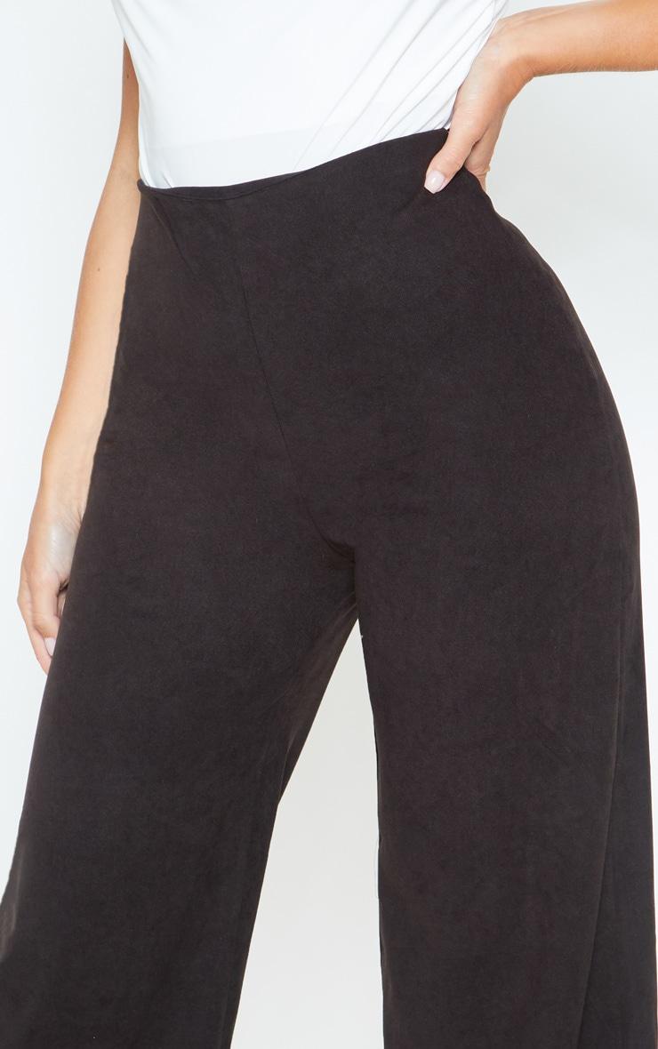 Black Suede Wide Leg Pants 5