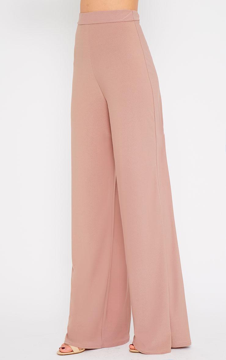 Zafia Dusty Pink Crepe Palazzo Trousers 3