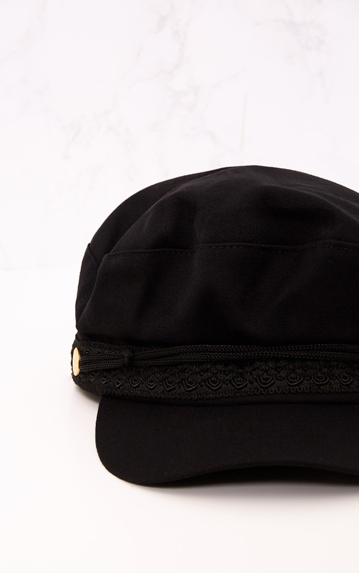 Black Flat Top Baker Boy Hat 6