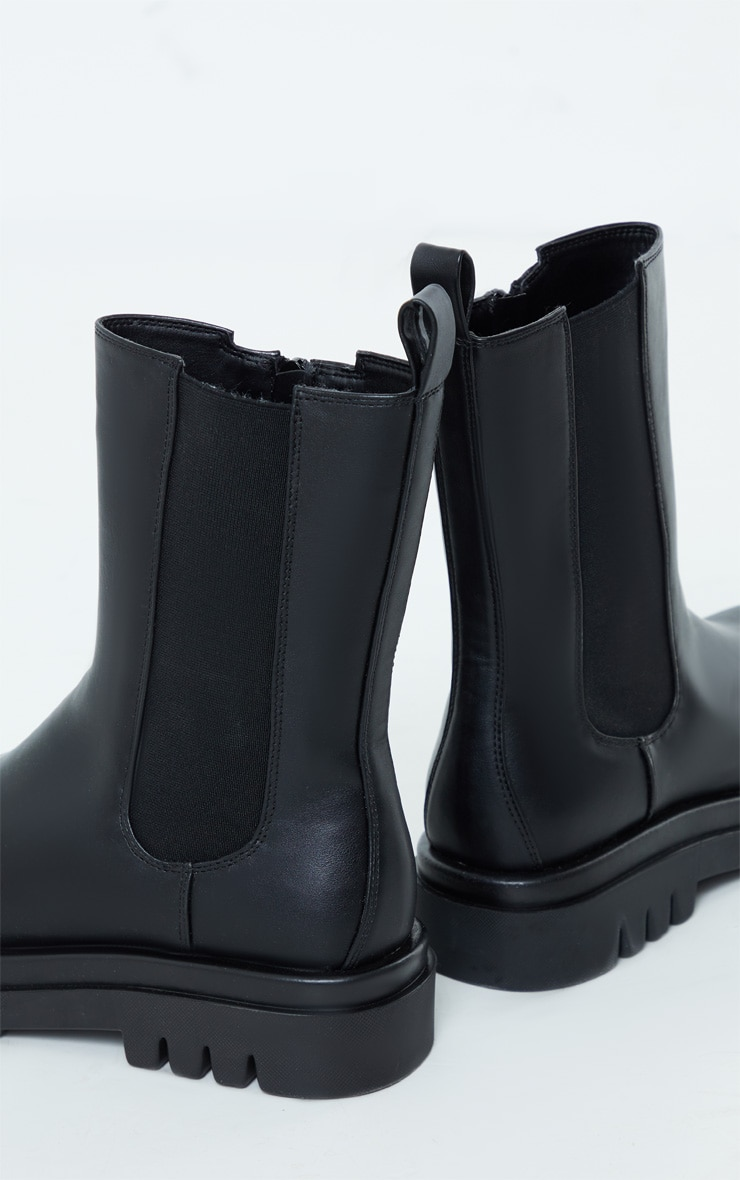 Black PU Calf High Vamp Chelsea Boots 4