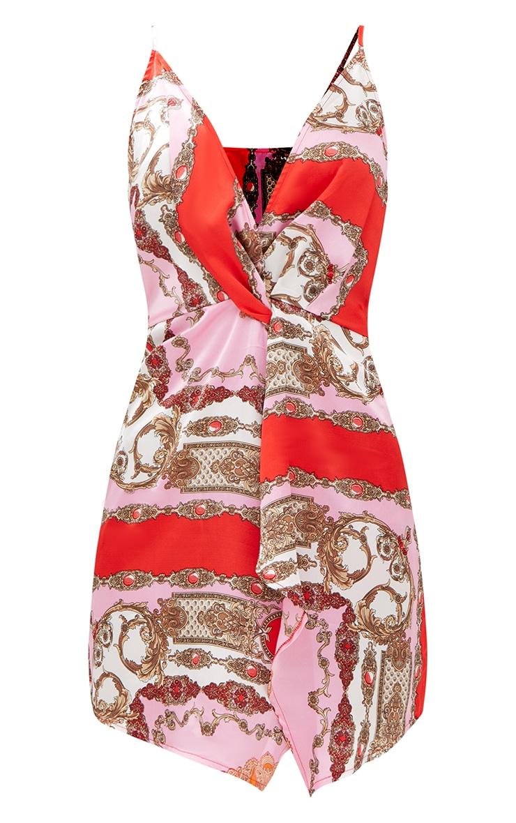 Pink Strappy Wrap Front Chain Print Bodycon Dress 2