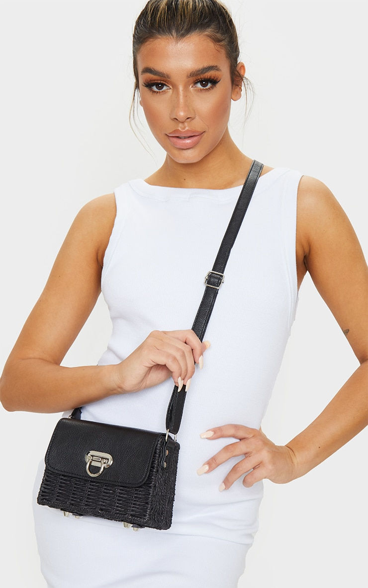 Black Square Structured Straw Cross Body Bag 1